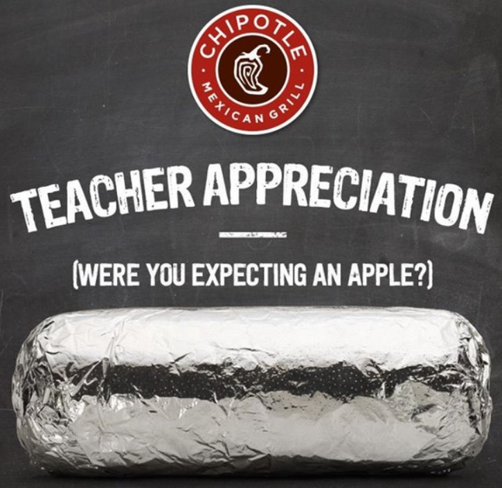free burrito chipotle teachers | just b.CAUSE