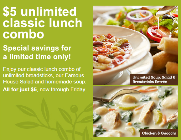 Olive Garden 5 Unlimited Soup Salad And Breadsticks Lunch Combo
