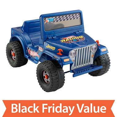 Power wheels hot wheels blue jeep ride on just 79 for Hot wheels motorized jeep