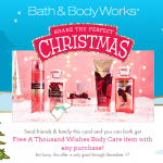 New Bath & Body Works Coupon – FREE Thousand Wishes Body Care Item with ANY Purchase
