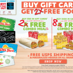 FREE Combo Meals For Del Taco Gift Card Purchases