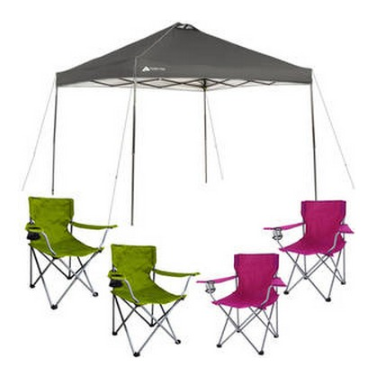 Ozark 10x10 Canopy Four Folding Chairs Just 79