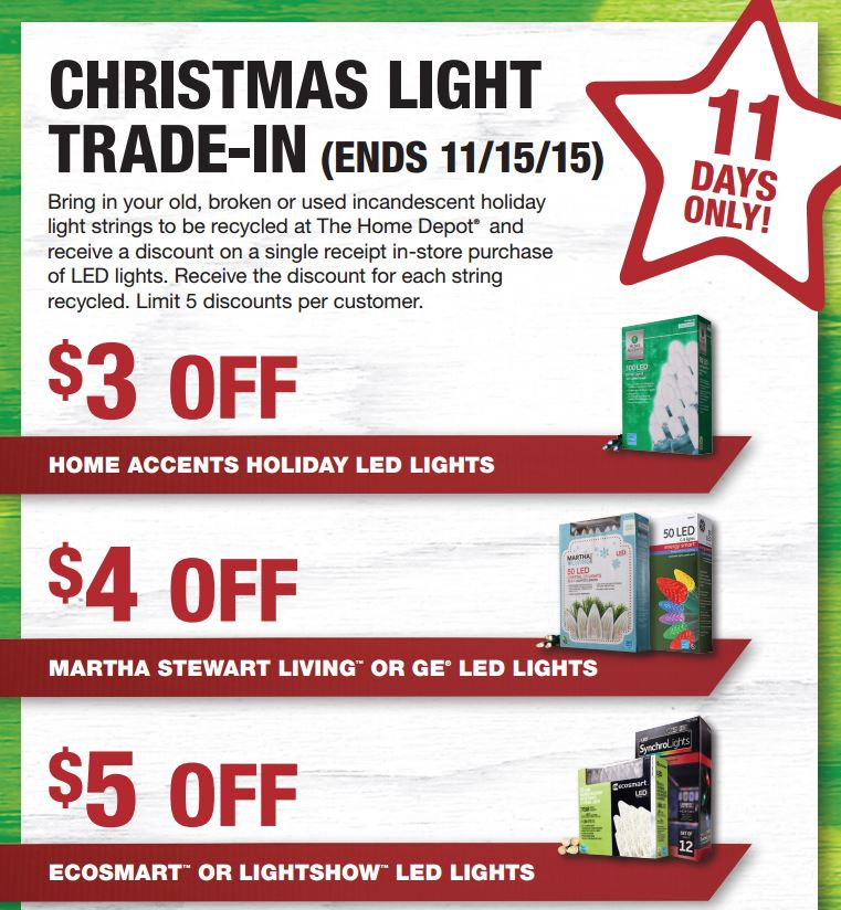 Home Depot Christmas Tree Light Trade-In 2015