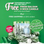 Bath & Body Works – FREE Fresh Balsam Candle With ANY Purchase