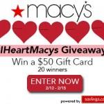 #IHeartMacys $50 Gift Card Giveaway (20 Winners!)