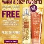 New Bath & Body Works Coupon – Two FREE Full Size Warm Vanilla Sugar Items With ANY Purchase!